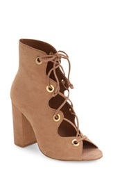 Steve Madden Women's 'Carusso' Lace Up Peep Toe Bootie Tan Nubuck