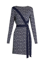 Diane Von Furstenberg Vienna Dress Navy White