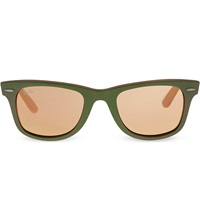 Ray Ban Green Wayfarer Sunglasses With Mirrored Lenses Rb2140