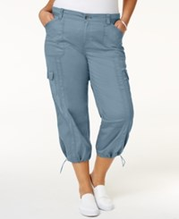 Style And Co Plus Size Capri Cargo Pants Only At Macy's Blue Fog