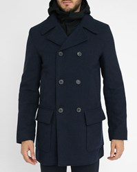 Acne Studios Navy Melker Pea Coat With Contrasting Removable Hood And Liner