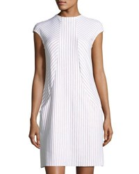 Montagne Racer Front Striped Knit Dress White Brown
