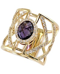 Effy Collection Effy Diamond 5 8 Ct. T.W. And Amethyst Ring 2 7 8 Ct. T.W. In 14K Gold