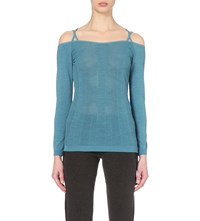 Sweaty Betty Vitality Off The Shoulder Jersey Dance Top Sea Glass Teal