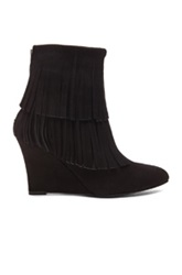 Elysewalker Los Angeles Elyse Fringe Suede Wedge Booties In Black