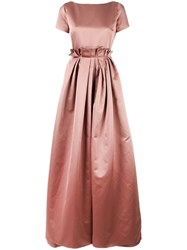 Rochas Pleated Trim Fitted Dress Nude Neutrals