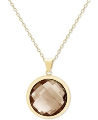 Victoria Townsend Smokey Quartz Bezel Pendant Necklace 18 Ct. T.W. In 18K Gold Plated Sterling Silver Yellow Gold