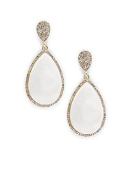 Saks Fifth Avenue Faux Pearl Glass And Goldtone Metal Teardrop Earrings Gold White