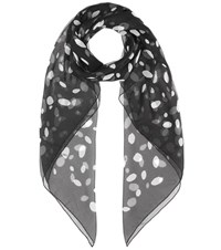 Saint Laurent Printed Silk Scarf Black
