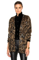 Saint Laurent Leopard Mohair Jacquard Cardigan In Brown Animal Print Brown Animal Print