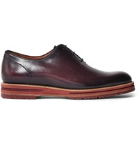 Berluti Saint Emilion Burnished Leather Oxford Shoes Burgundy