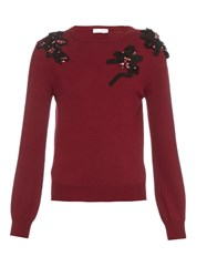 Oscar De La Renta Embroidered Crew Neck Sweater Burgundy