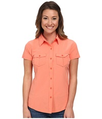 The North Face Short Sleeve Taggart Woven Shirt Emberglow Orange Heather Women's Short Sleeve Button Up