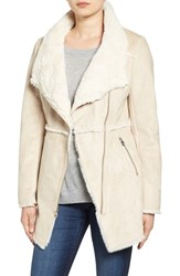 Jessica Simpson Women's Asymmetrical Faux Shearling Jacket Stone