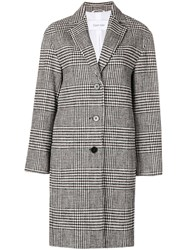 Ck Calvin Klein Check Patterned Coat White