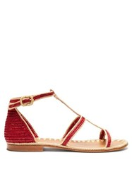 Carrie Forbes Tama Raffia Sandals Red Multi