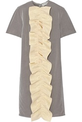 Vika Gazinskaya Ruffle Trimmed Washed Silk Midi Dress Gray