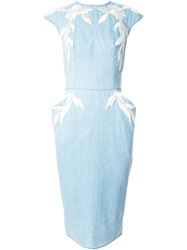 Ermanno Scervino Floral Applique Denim Dress Blue