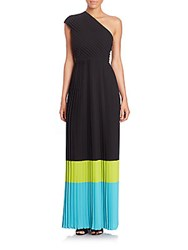 Michael Kors Pleated Silk Colorblock Gown Black