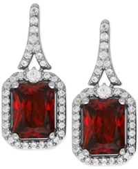 Macy's Lab Created Ruby 4 1 5 Ct. T.W. And White Sapphire 1 2 Ct. T.W. Drop Earrings In Sterling Silver