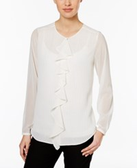 Tommy Hilfiger Sheer Stripe Ruffle Front Blouse Ivory Gold