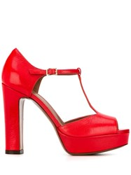 L'autre Chose Heeled Mary Jane Sandals Red