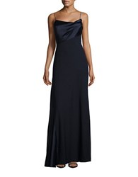 Vera Wang Satin Trimmed A Line Gown Navy