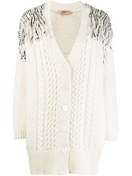 Twin Set Sequin Knitted Cardigan Neutrals