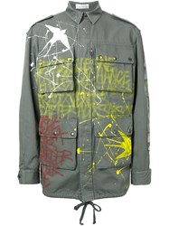 Faith Connexion Graffiti Print Military Jacket Green