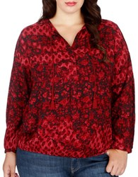 Lucky Brand Plus Floral Printed Long Sleeve Blouse Red