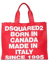 Dsquared News Logo Printed Leather Tote Red