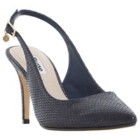 Dune Cathy Slingback High Heel Court Shoes Navy Reptile