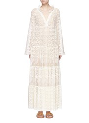 Stella Mccartney 'Erika' Ruffle Collar Lace Dress White