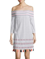 Shoshanna Ipanema Off The Shoulder Bohemian Dress White Multicolor