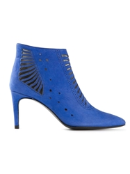 Preen By Thornton Bregazzi 'Miller' Laser Cut Ankle Boots Blue
