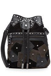 Zadig And Voltaire Embellished Suede Leather Shoulder Bag Black