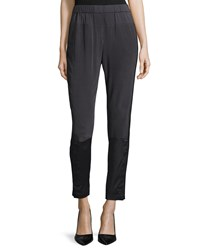 Halston Heritage Slim Leg Pull On Pants Charcoal Grey
