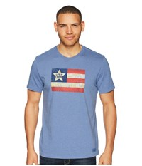 Life Is Good Vintage American Flag Crusher Tee Heather Vintage Blue T Shirt