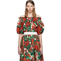 Dolce And Gabbana Red Geranium Off The Shoulder Blouse