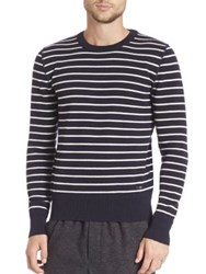 Ami Alexandre Mattiussi Striped Crewneck Wool Sweater Navy Off White