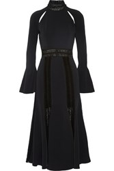 Jonathan Simkhai Crochet Trimmed Crepe Midi Dress Black