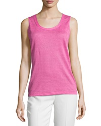 Lafayette 148 New York Sleeveless Scoop Neck Shell Dahlia
