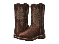 Ariat Workhog Wide Square Toe Brown Croco Print Dark Chocolate Men's Work Boots