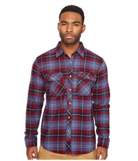 Brixton Bowery Long Sleeve Flannel Navy Plaid Men's Long Sleeve Button Up Blue