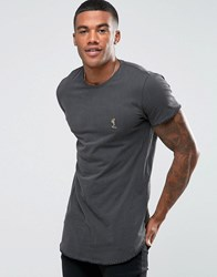 Religion T Shirt With Curved Hem And Blanket Stitch Detail Black