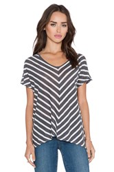 Velvet By Graham And Spencer Eisa Linen Stripe Top Gray
