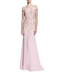 Naeem Khan Off The Shoulder Floral Beaded Gown Pale Pink