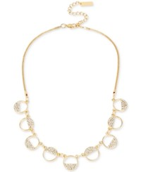 Inc International Concepts M. Haskell For Gold Tone Mini Semi Circle Pave Collar Necklace Only At Macy's