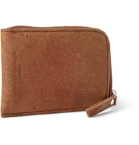 Maison Martin Margiela Zip Around Distressed Leather Coin Wallet Brown