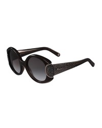 Salvatore Ferragamo Round Gradient Rhinestone Sunglasses Black Gray